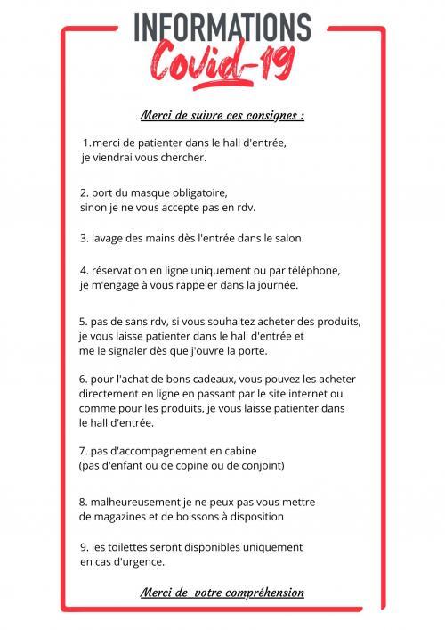"""Informations Covid-19 """"Les consignes"""""""
